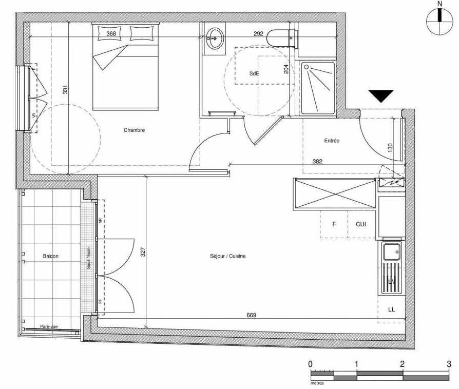 Plan A302, appartement neuf type T2 au Rez de chaussée, faisant 44m² du programme neuf 12 Liberty à Chennevières-sur-Marne.
