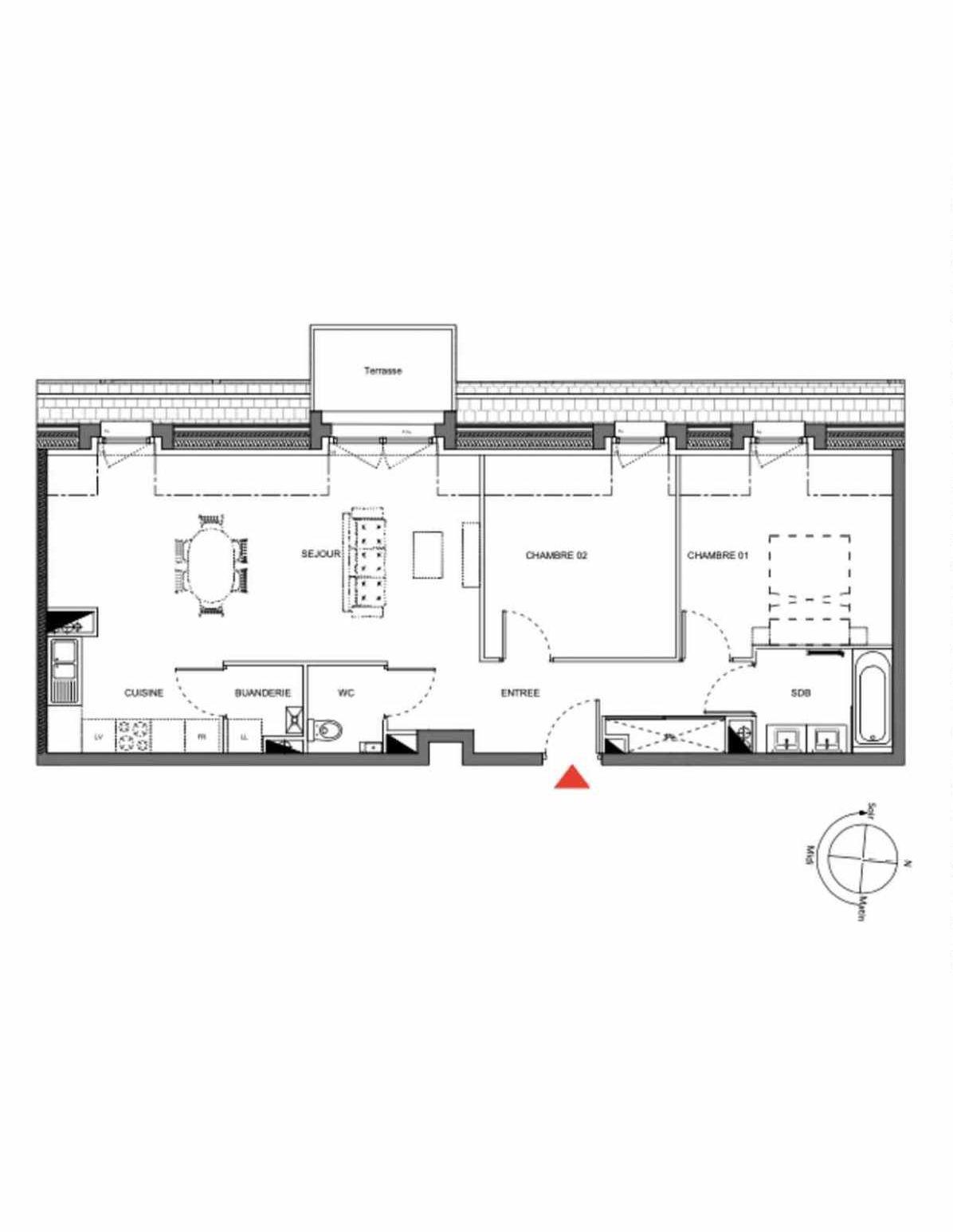 Plan A302, appartement neuf type T3 au 3ème étage, orienté Ouest faisant 67m² du programme neuf Les Demeures d'Henriville à Amiens.