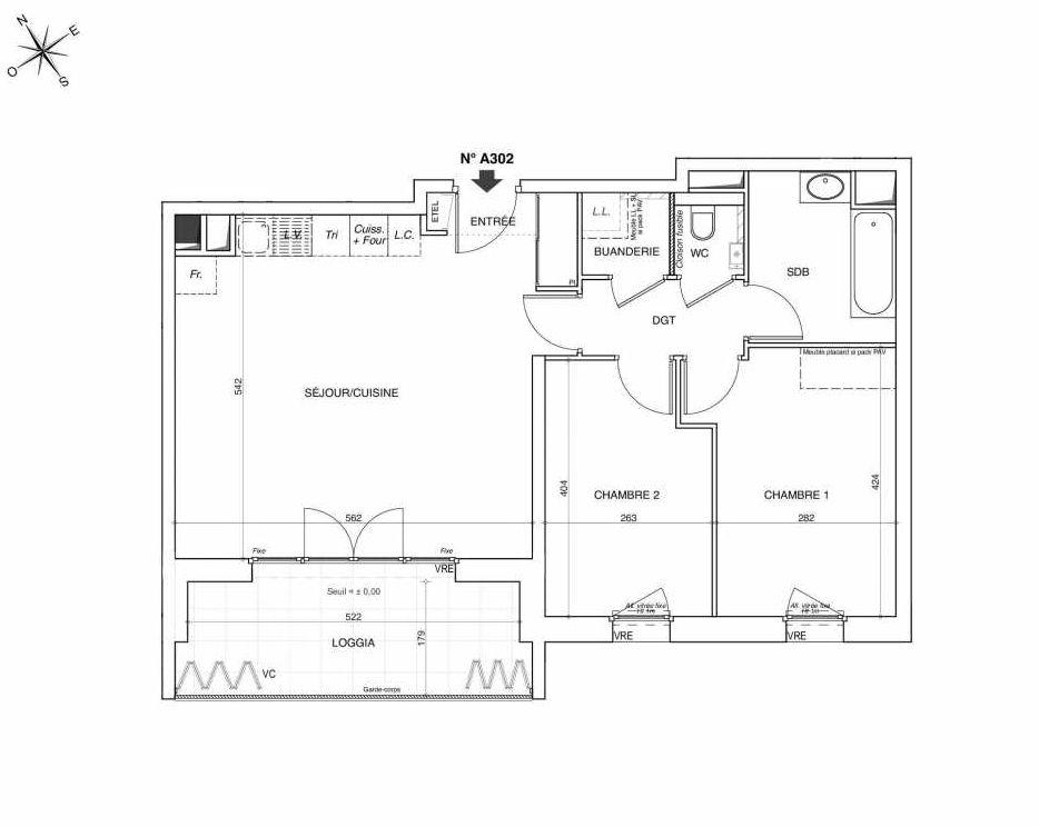 Plan A302, appartement neuf type T3 au 3ème étage, faisant 66m² du programme neuf NOVA à Annemasse.