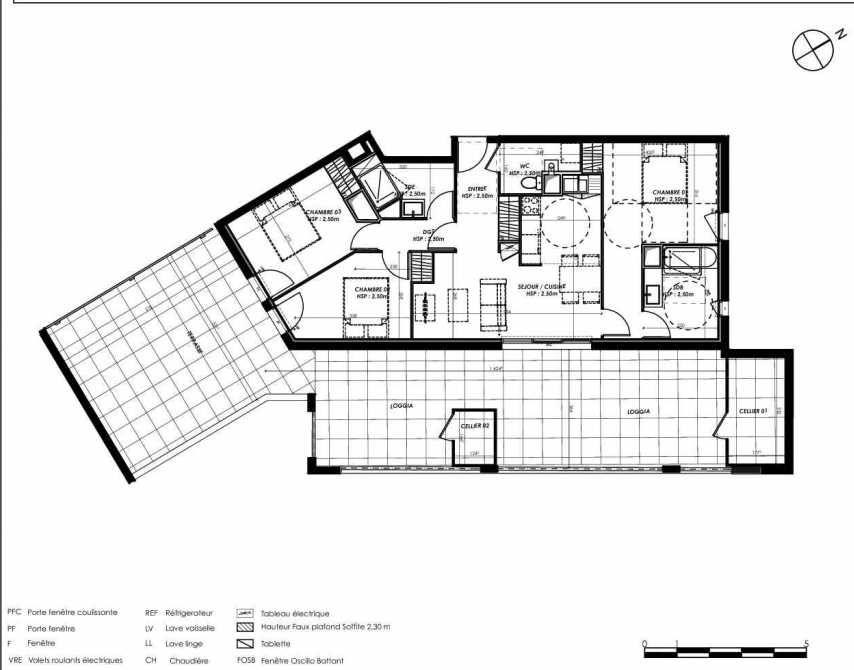 Plan A302, appartement neuf type T4 au 3ème étage, orienté Sud faisant 78m² du programme neuf Pierre 1er Héritage à Le Bouscat.