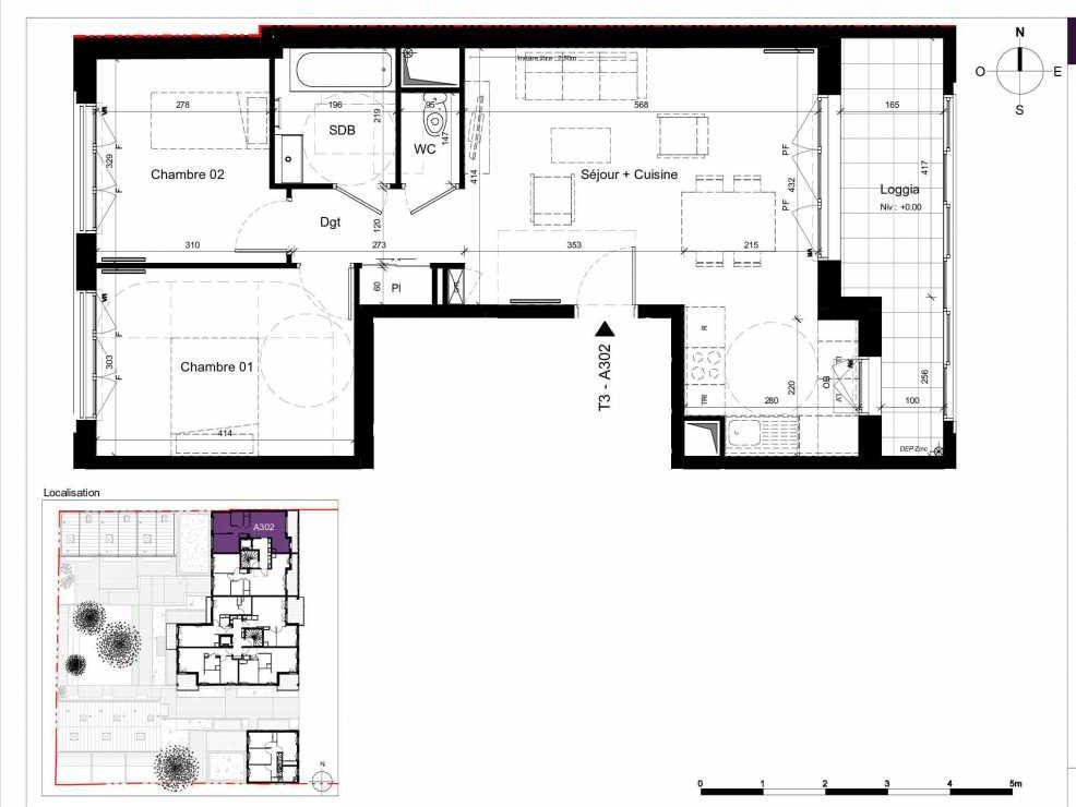 Plan A302, appartement neuf type T3 au 3ème étage, orienté Est faisant 62m² du programme neuf SESAME à Rennes.