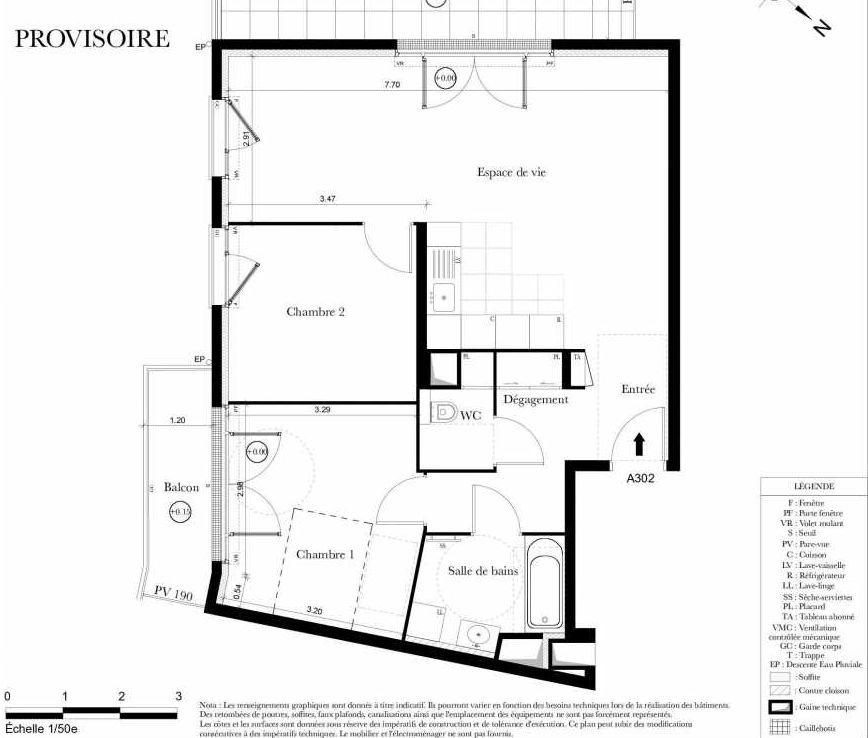 Plan A302, appartement neuf type T3 au 3ème étage, orienté Sud faisant 70m² du programme neuf Symbiose à Bezons.