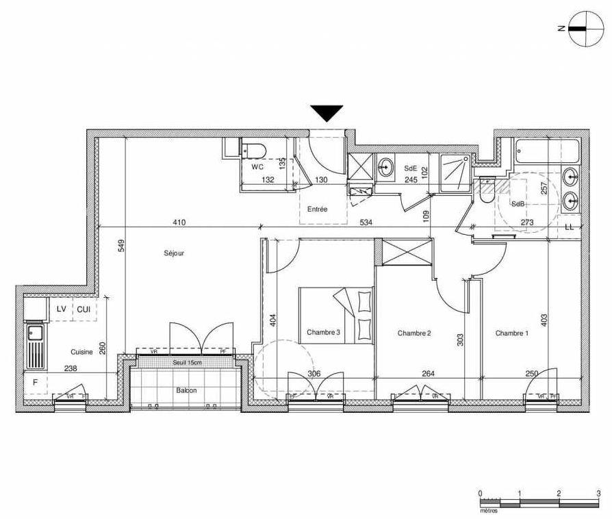 Plan A303, appartement neuf type T4 au Rez de chaussée, faisant 77m² du programme neuf 12 Liberty à Chennevières-sur-Marne.