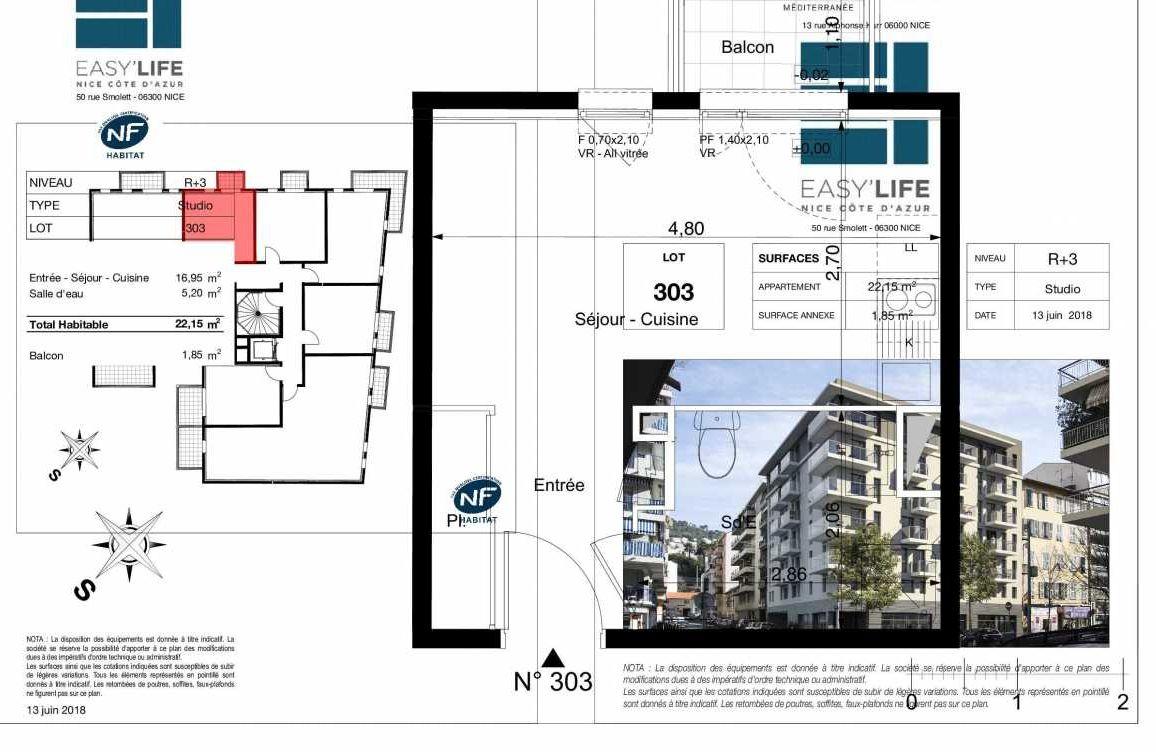 Plan A303, appartement neuf type T1 au 3ème étage, orienté Ouest faisant 22m² du programme neuf Easy Life à Nice.