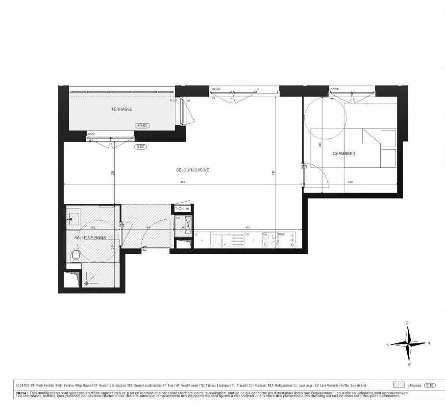 Plan A303, appartement neuf type T2 au 3ème étage, orienté Ouest faisant 52m² du programme neuf Halle 12 à Dijon.