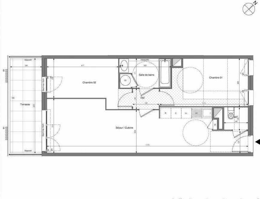 Plan A303, appartement neuf type T3 au 3ème étage, orienté Sud faisant 62m² du programme neuf Impulsion à Marseille.
