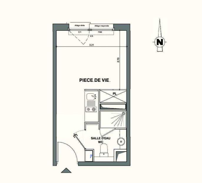 Plan A303, appartement neuf type T1 au 3ème étage, faisant 18m² du programme neuf Kaiman - Nimes à Nîmes.
