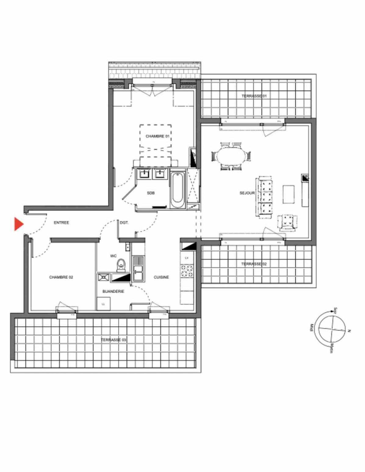 Plan A303, appartement neuf type T3 au 3ème étage, orienté Est faisant 74m² du programme neuf Les Demeures d'Henriville à Amiens.