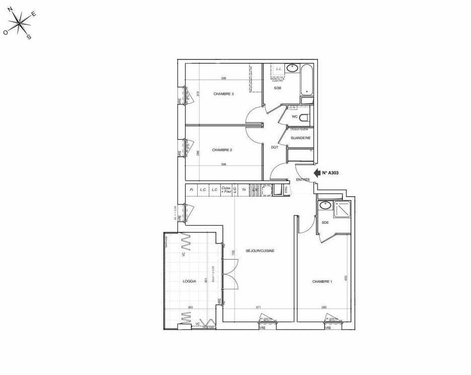 Plan A303, appartement neuf type T4 au 3ème étage, faisant 88m² du programme neuf NOVA à Annemasse.