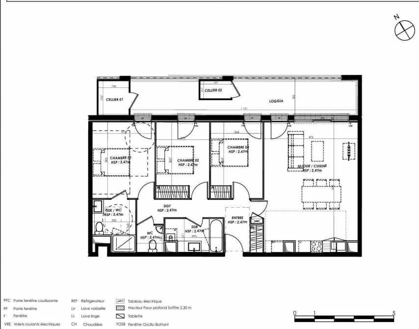 Plan A303, appartement neuf type T4 au 3ème étage, orienté Nord faisant 85m² du programme neuf Pierre 1er Héritage à Le Bouscat.