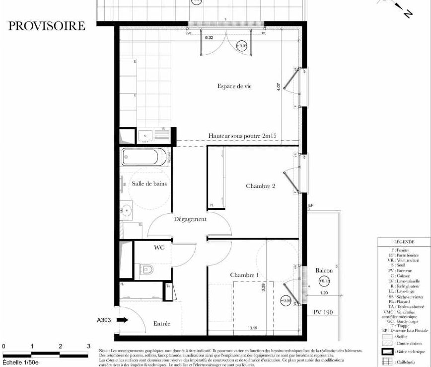 Plan A303, appartement neuf type T3 au 3ème étage, orienté Ouest faisant 65m² du programme neuf Symbiose à Bezons.