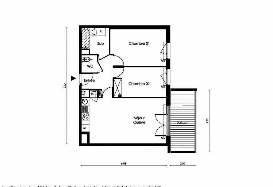Plan A303, appartement neuf type T3 au 3ème étage, faisant 61m² du programme neuf TOSCANI SIENNE à Saint-Orens-de-Gameville.