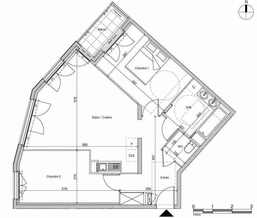 Plan A304, appartement neuf type T3 au Rez de chaussée, faisant 64m² du programme neuf 12 Liberty à Chennevières-sur-Marne.