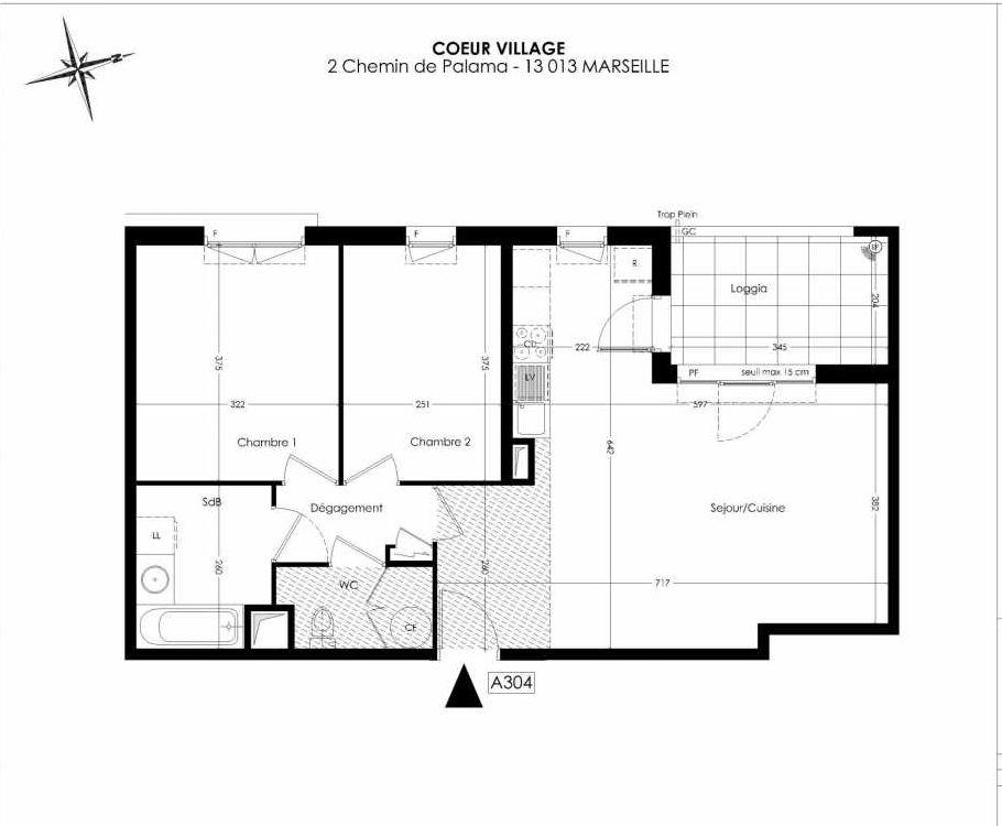 Plan A304, appartement neuf type T3 au 3ème étage, orienté Ouest faisant 65m² du programme neuf Coeur Village à Marseille.