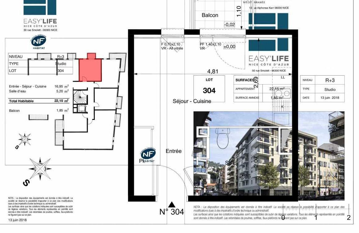 Plan A304, appartement neuf type T1 au 3ème étage, orienté Ouest faisant 22m² du programme neuf Easy Life à Nice.
