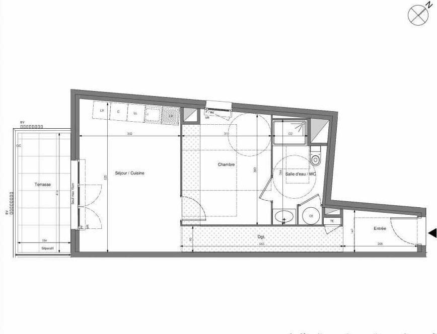 Plan A304, appartement neuf type T2 au 3ème étage, orienté Sud faisant 45m² du programme neuf Impulsion à Marseille.