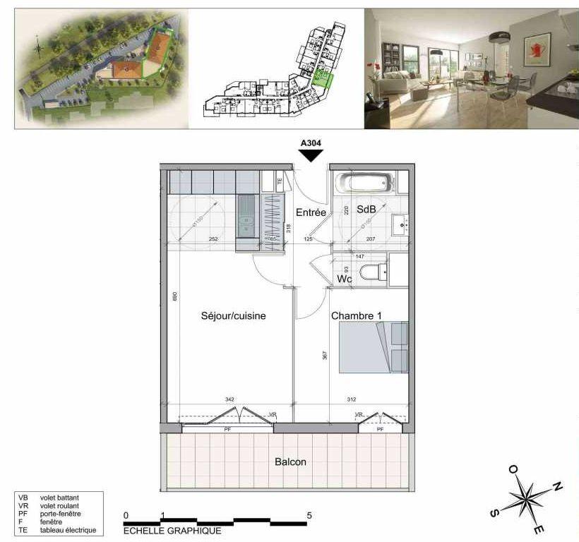Plan A304, appartement neuf type T2 au 2ème étage, orienté Sud faisant 43m² du programme neuf TOULON ESTEREL à Toulon.