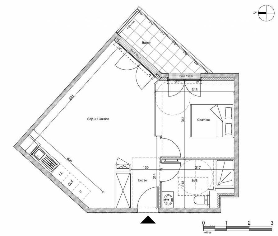 Plan A305, appartement neuf type T2 au Rez de chaussée, faisant 45m² du programme neuf 12 Liberty à Chennevières-sur-Marne.