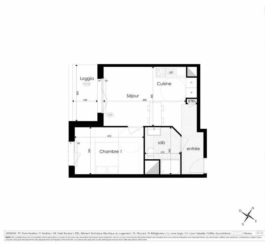 Plan A305, appartement neuf type T2 au 3ème étage, faisant 40m² du programme neuf Les Jardins d'Arc à Amiens.
