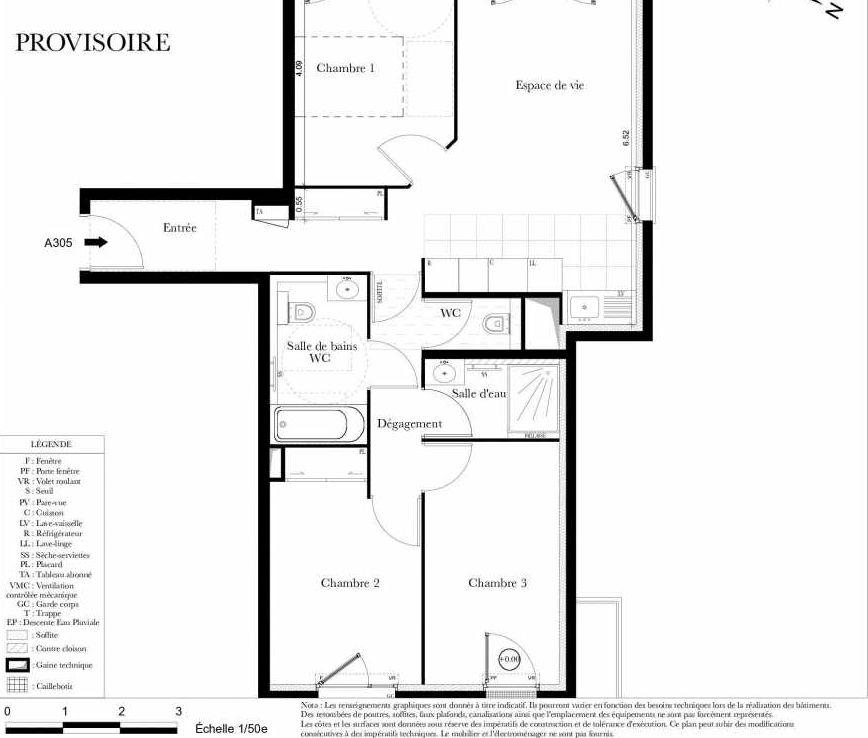 Plan A305, appartement neuf type T4 au 3ème étage, orienté Ouest faisant 73m² du programme neuf Symbiose à Bezons.
