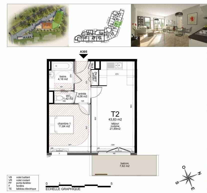 Plan A305, appartement neuf type T2 au 3ème étage, orienté Sud faisant 43m² du programme neuf TOULON ESTEREL à Toulon.