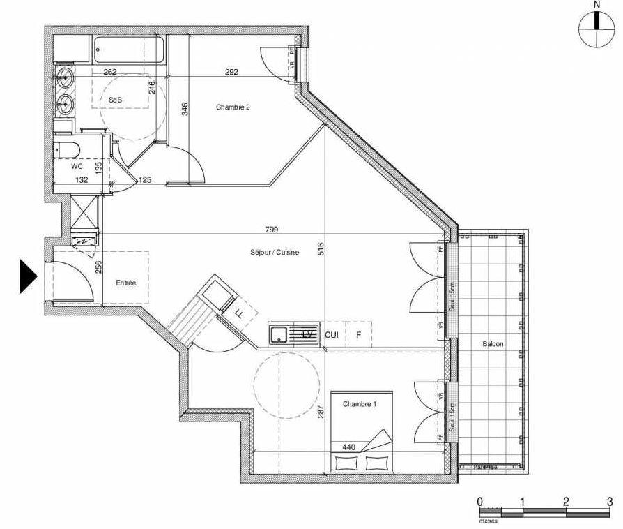 Plan A306, appartement neuf type T3 au Rez de chaussée, faisant 64m² du programme neuf 12 Liberty à Chennevières-sur-Marne.
