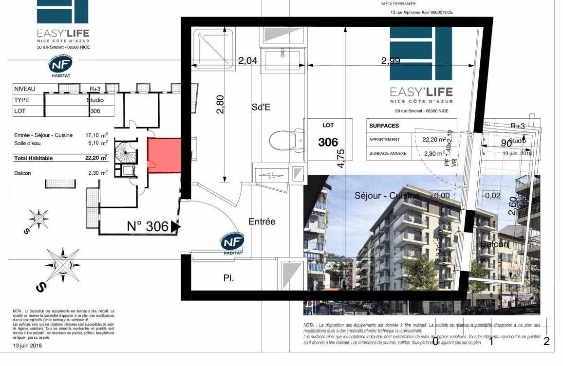 Plan A306, appartement neuf type T1 au 3ème étage, orienté Est faisant 22m² du programme neuf Easy Life à Nice.