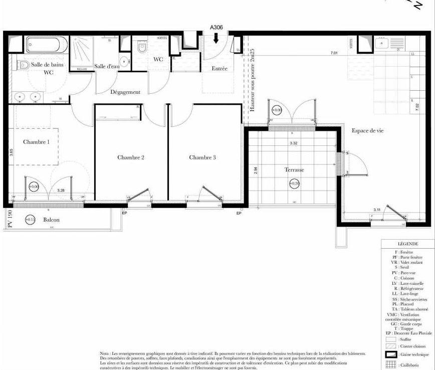 Plan A306, appartement neuf type T4 au 3ème étage, orienté Est faisant 87m² du programme neuf Symbiose à Bezons.