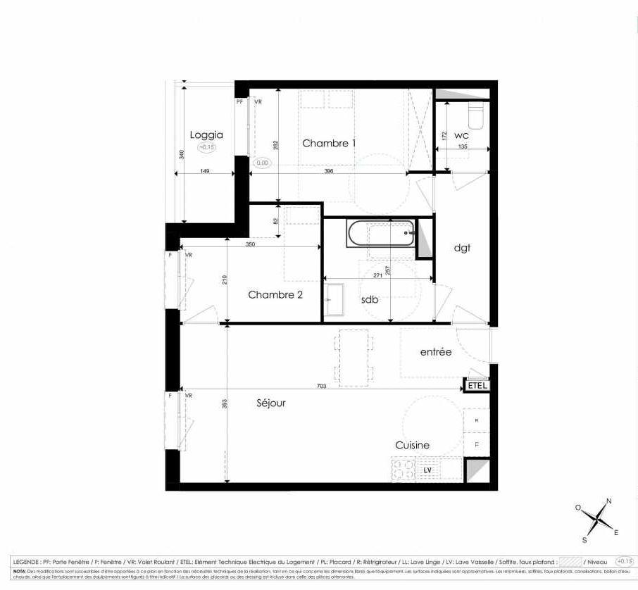 Plan A307, appartement neuf type T3 au 3ème étage, faisant 66m² du programme neuf Les Jardins d'Arc à Amiens.