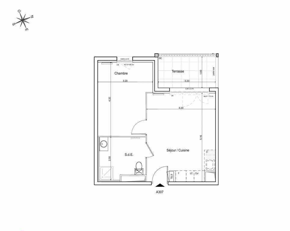 Plan A307, appartement neuf type T2 au 3ème étage, orienté Ouest faisant 39m² du programme neuf LES JARDINS DU CANAL à Arles.