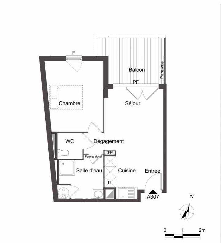 Plan A307, appartement neuf type T2 au 3ème étage, orienté Nord faisant 43m² du programme neuf Les Jardins du Faron à Toulon.
