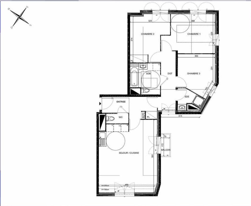 Plan A307, appartement neuf type T4 au 3ème étage, orienté Sud faisant 80m² du programme neuf PASTELS à Villiers-sur-Marne.