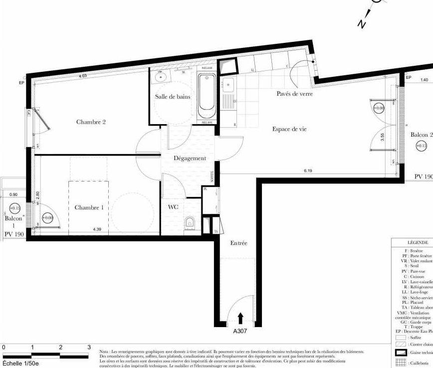 Plan A307, appartement neuf type T3 au 3ème étage, orienté Sud faisant 65m² du programme neuf Symbiose à Bezons.