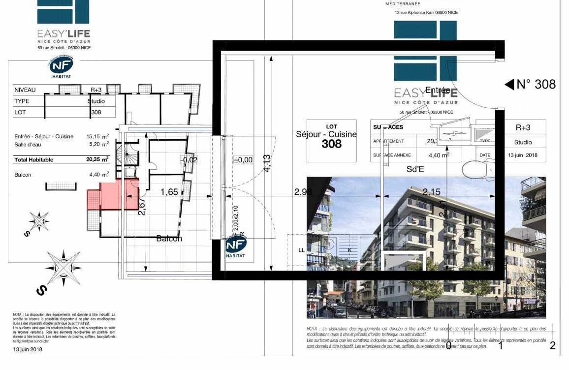 Plan A308, appartement neuf type T1 au 3ème étage, orienté Est faisant 20m² du programme neuf Easy Life à Nice.