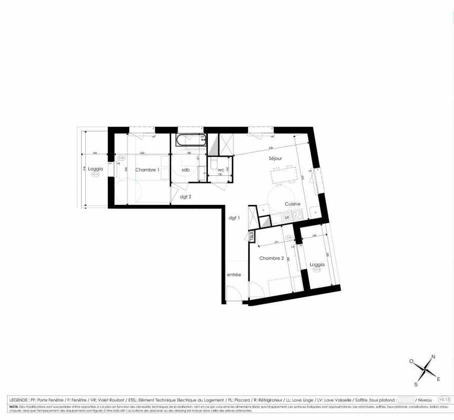 Plan A308, appartement neuf type T3 au 3ème étage, faisant 64m² du programme neuf Les Jardins d'Arc à Amiens.