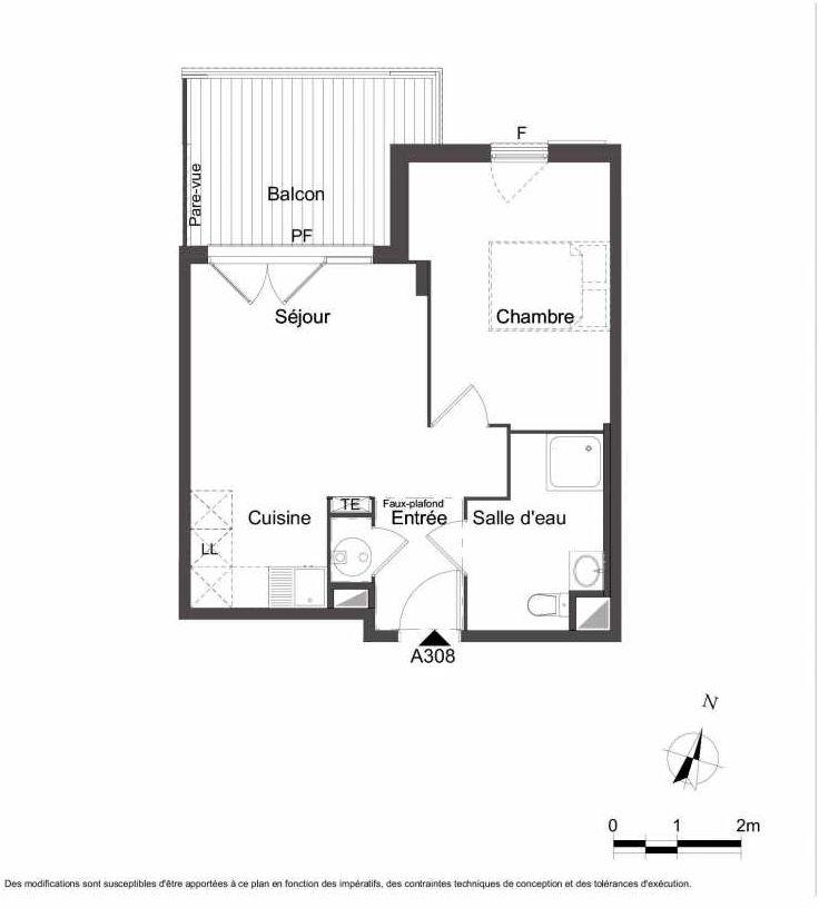 Plan A308, appartement neuf type T2 au 3ème étage, orienté Nord faisant 41m² du programme neuf Les Jardins du Faron à Toulon.