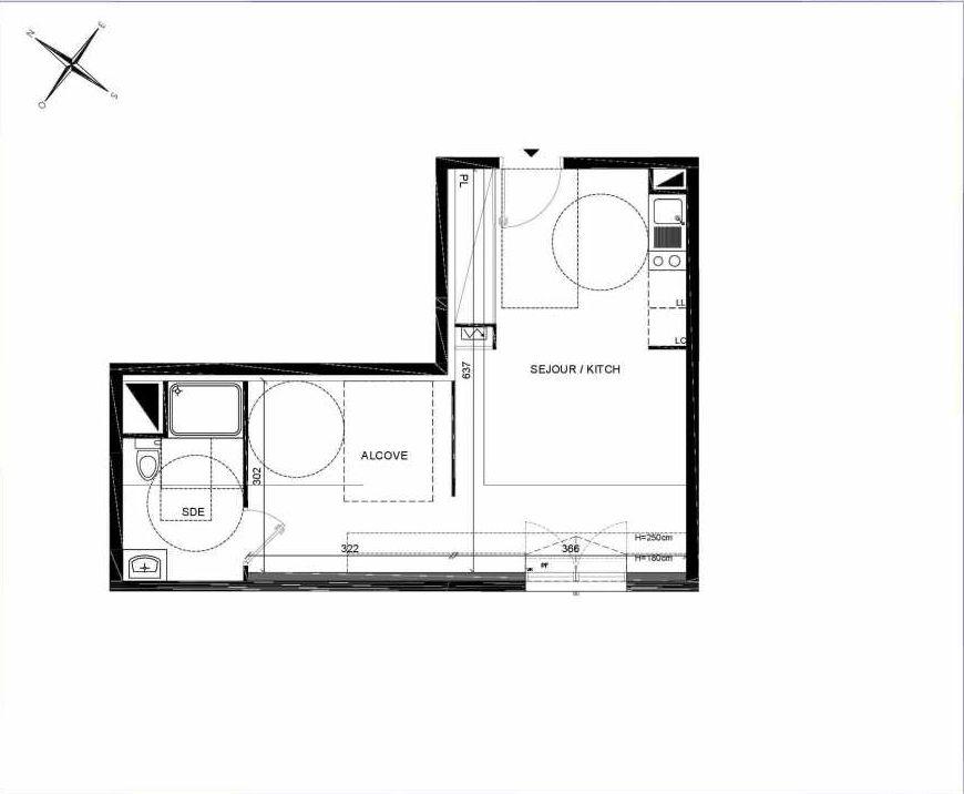 Plan A308, appartement neuf type T1 au 3ème étage, orienté Sud faisant 37m² du programme neuf PASTELS à Villiers-sur-Marne.