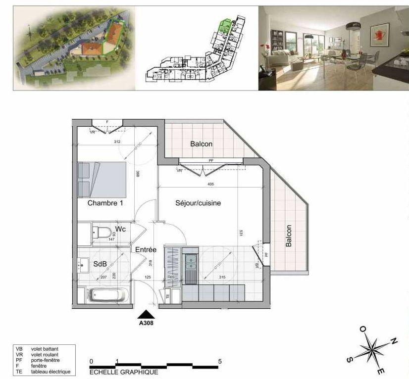 Plan A308, appartement neuf type T2 au 3ème étage, orienté Nord faisant 41m² du programme neuf TOULON ESTEREL à Toulon.