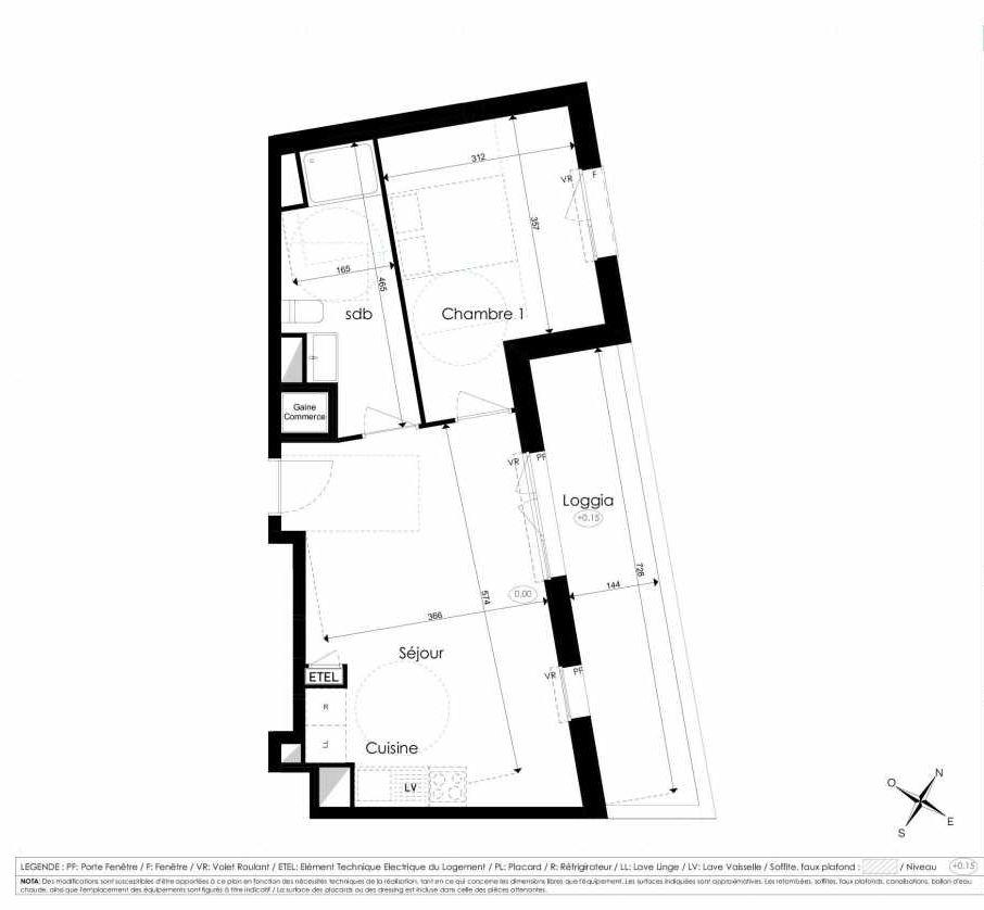 Plan A309, appartement neuf type T2 au 3ème étage, faisant 44m² du programme neuf Les Jardins d'Arc à Amiens.