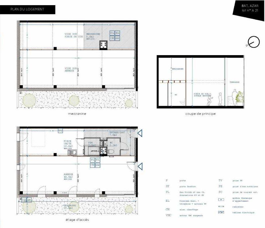 Plan A31, appartement neuf type T5 au 3ème étage, orienté Nord faisant 32m² du programme neuf Brazza à Bordeaux.