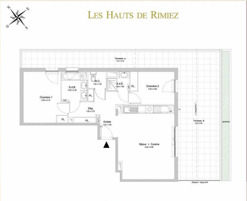 Plan A31, appartement neuf type T3 au 2ème étage, orienté Sud faisant 68m² du programme neuf Les Hauts de Rimiez à Nice.