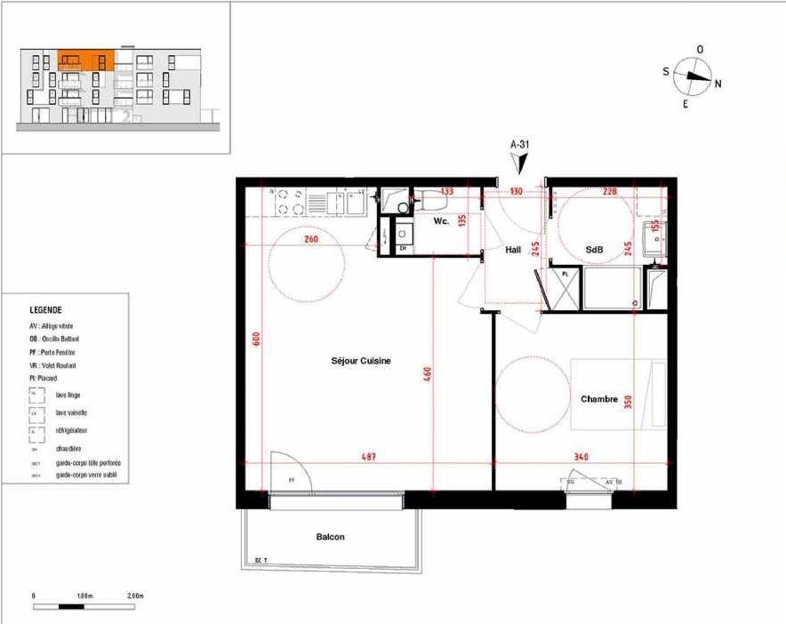 Plan A31, appartement neuf type T2 au 3ème étage, orienté Est faisant 48m² du programme neuf Symbioz à Haubourdin.