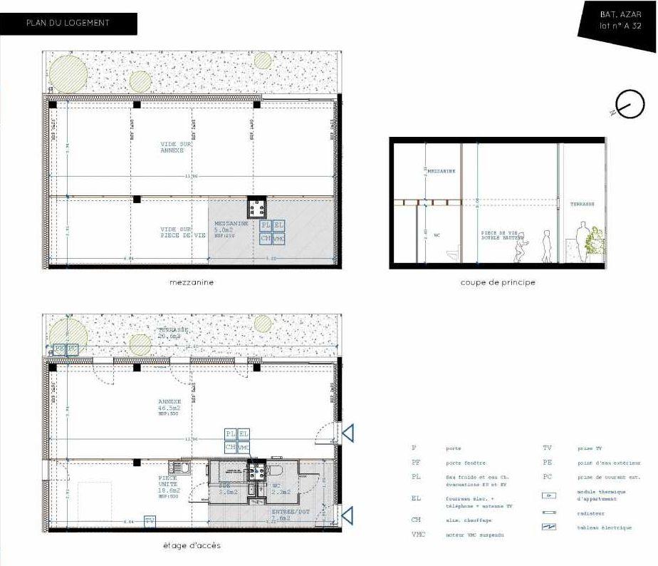 Plan A32, appartement neuf type T5 au 3ème étage, orienté Sud faisant 32m² du programme neuf Brazza à Bordeaux.