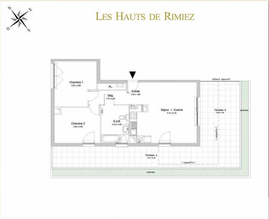 Plan A32, appartement neuf type T3 au 2ème étage, orienté Sud faisant 66m² du programme neuf Les Hauts de Rimiez à Nice.