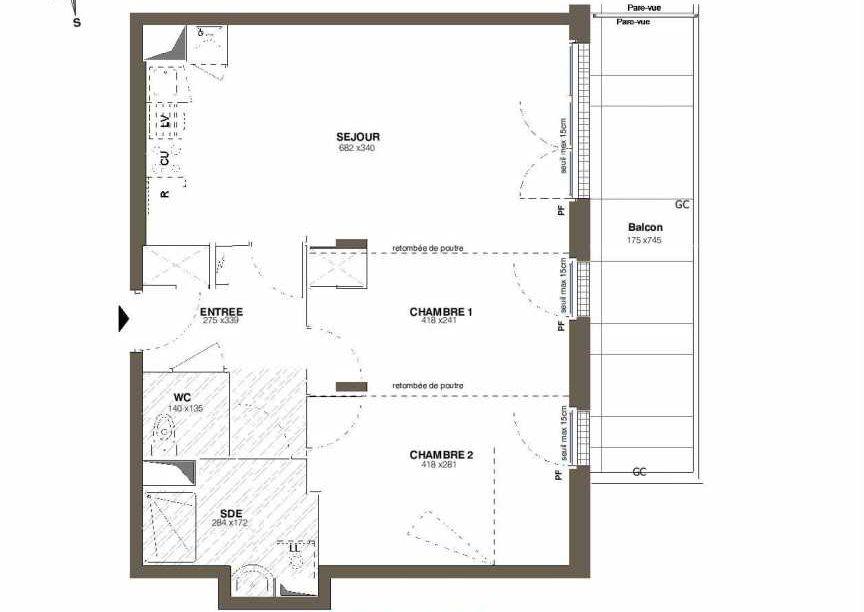 Plan A32, appartement neuf type T3 au 3ème étage, faisant 58m² du programme neuf Les Hauts Romanet à Saint-Herblain.