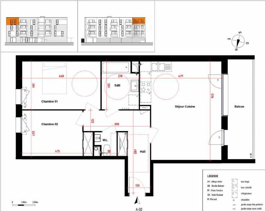 Plan A32, appartement neuf type T3 au 3ème étage, orienté Ouest faisant 66m² du programme neuf Symbioz à Haubourdin.