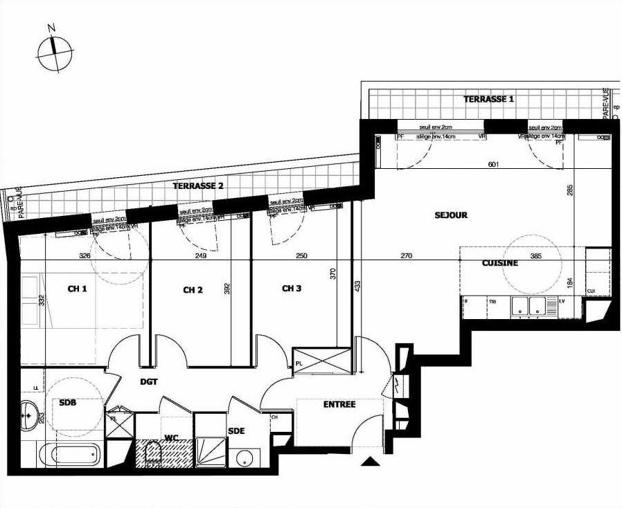 Plan A33, appartement neuf type T4 au 3ème étage, orienté Nord faisant 84m² du programme neuf 119 Sommeville à Combs-la-Ville.