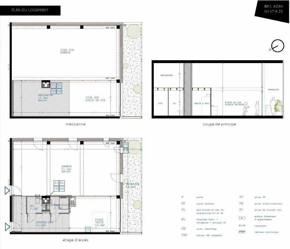 Plan A33, appartement neuf type T5 au 3ème étage, orienté Sud faisant 32m² du programme neuf Brazza à Bordeaux.