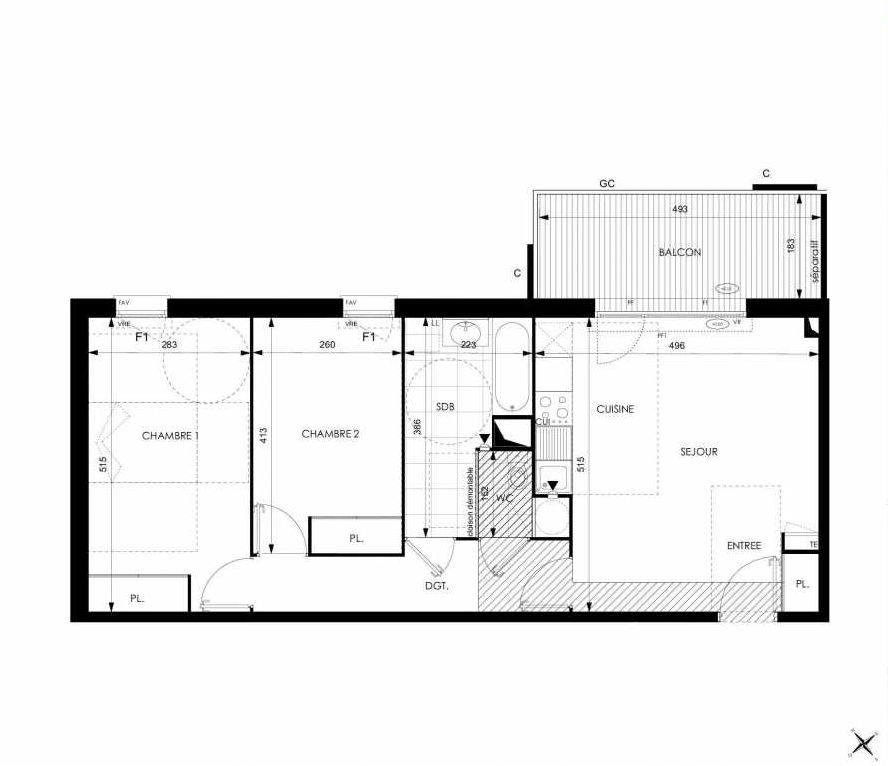Plan A33, appartement neuf type T3 au 3ème étage, orienté Ouest faisant 64m² du programme neuf Cosy à Toulouse.