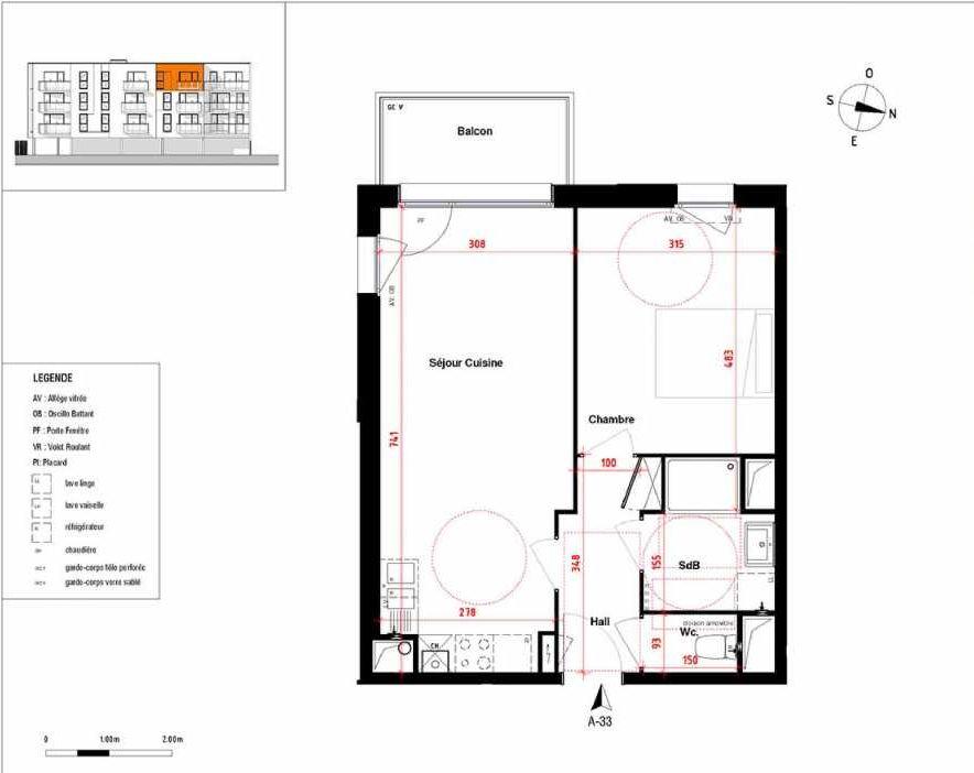 Plan A33, appartement neuf type T2 au 3ème étage, orienté Sud faisant 44m² du programme neuf Symbioz à Haubourdin.